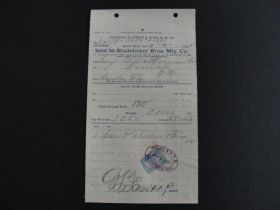 1902 Indiana Illinois & Iowa R.R. Co. Studebaker Bros MFG Co. Invoice