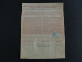 1902 Baltimore & Ohio Southwestern Railroad Co. Bill of Lading