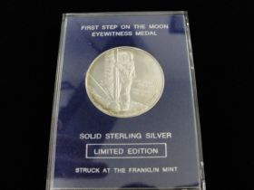 "1969 ""First Step On The Moon"" Sterling Silver 38mm Medal By Franklin Mint"