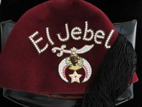 Jeweled El Jebel Fez With Black Tassel and Black Hat Bag