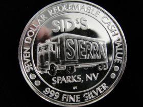 """1993 Sid's Sparks Nevada """"International Trucks"""" $7.00 .999 Silver Gaming Token"""
