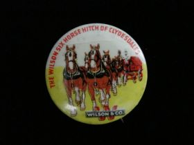 1920's The Wilson Six Horse Hitch Of Clydesdales Pinback (Wilson & Co.)