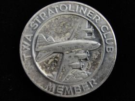 1940's TWA Stratoliner Club Member Sterling Silver Medal