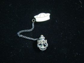 1940's WW2 Sterling Silver USN Anchor & White Enamel Sailor Cap Lapel/Tie Pin