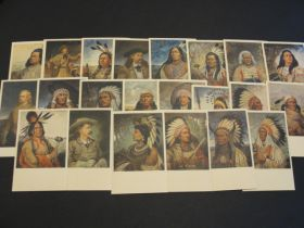 1930's Set Of 22 Lithograph Postcards Native American & Western Characters