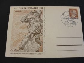 1942 German Third Reich Postal Card Afrikakorps Commemorative Cancel 01e