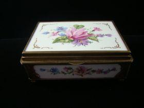 Antique European Very Fine Hallmarked Porcelain & Brass Snuff/Trinket Box