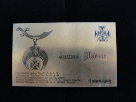 1880-1890 Solid Copper Emblem Card Scottish Rite Mason James Mercer Of  Michigan