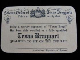 1956 Solemn Order Of Texas Braggarts Funny Card By John Randolph, Tomball Texas