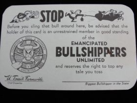 1952 Emancipated Bullshippers Unlimited Funny Card By Premier Printing, Houston Texas
