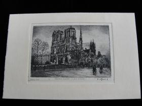 """Vintage T. Roux Mini Etching Of """"Notre Dame"""" (Les Quais) Paris 3 1/4"""" x 2 1/8"""""""