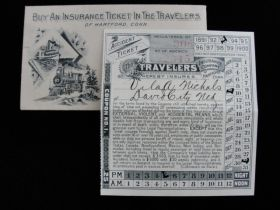 1893 The Travelers Insurance Company Of Hartford CT Accident Ticket &  Envelope