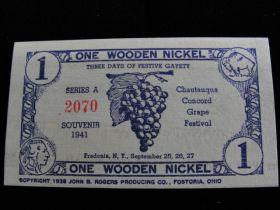 1941 One Wooden Nickel Card Chautauqua New York Concord Grape Festival