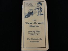 1918 Wear-U-Well Shoe Co. Xenia Ohio Advertising Calendar Brochure