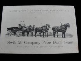 1906 American Royal Live Stock Show Kansas City KS Prize Draft Team Ad Postcard