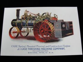 1910 J.I. Case Threshing Machine Company Lithograph Advertising Postcard