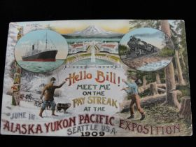 1909 AK Yukon Pacific Exposition Hello Bill! Meet Me On The Pay Streak Postcard