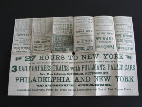 1870 Pittsburgh Fort Wayne & Chicago Railway & Penn Central Timetable & Map