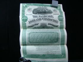 1888 Sandusky Ashland Coshocton Railway Co $1000 Gold Bond Complete Intact