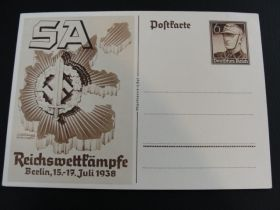 "1938 German Third Reich Postal Card Unused ""SA Reichswettfampfe Berlin"" 02b"
