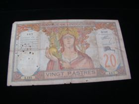 French Indo-China 1928-31 20 Piastres Large Banknote G-VG. Pick #50