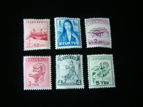 Ryukyu Islands Scott #8-13 Set Mint Never Hinged
