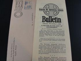 1925 Atchison, Topeka & Santa Fe Railway Co. Rare Meter Usage Cover & Bulletin