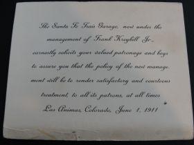 """Colorado 1911 Santa Fe Train Garage Las Animas CO """"New Management Patronage Card"""""""