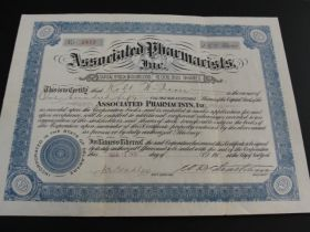 1918 Associated Pharmacists Inc. Stock Certificate