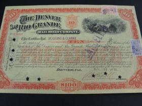 1889 The Denver And Rio Grande Railroad Company Preferred Stock Certificate