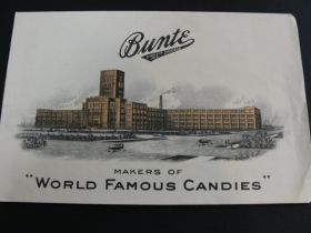 "1920's Bunte Chicago Advertising Bag ""World Famous Candies"" Lithograph"