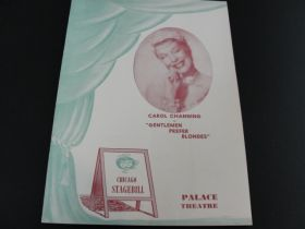 "1951 Palace Theatre Chicago ""Carol Channing In Gentlemen Prefer Blondes"" Stagebill"