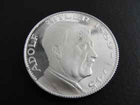 1889-1945 Adolf Hitler Centennial Proof Silver Medal Produced In 1989