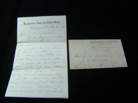 1871 General William Tecumseh Sherman Letter/Cover Signed Two Times To France