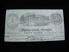 1863 The Marine Bank Of Georgia 50 Cents Banknote XF+ Signed