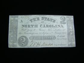 1861 The State Of North Carolina $2.00 Banknote AU Plate A Signed
