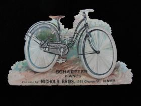 Colorado Late 19th Century Advertising Lithograph Bicycle Cut Out