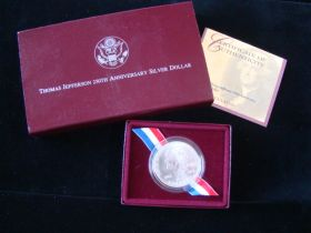 1993-S United States Mint Unc. Thomas Jefferson 250th Anniversary Silver Dollar