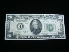 1928 Series $20.00 Federal Reserve Note Cleveland D08634775A VF+