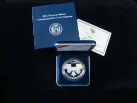 2011-P United States Mint Proof Medal Of Honor Silver Dollar