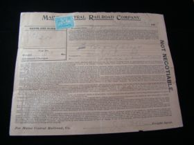 1899 Maine Central Railroad Freight Document With Revenue Stamp