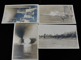 1914-17 Group Of 4 U.S. Navy Battleship Live Fire Drills Real Photo Postcards