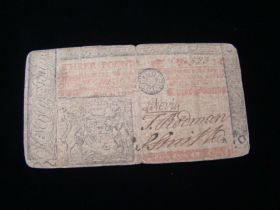 1762 U.S. Colonial Currency New Jersey 3 Pounds Note Fine Fr. NJ-150