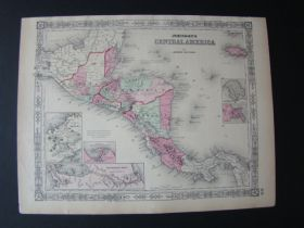 1864 Johnson's Map Of Central America By Johnson And Ward