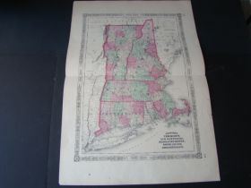 1865 Johnson's Map Of Vermont, New Hampshire, Massachusetts, Rhode Island And Connecticut By Johnson And Ward