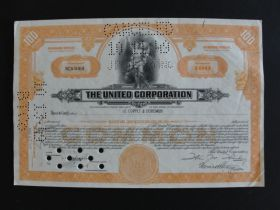 1948 The United Corporation Stock Certificate 100 Shares Cancelled
