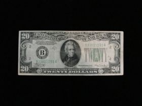1934-A Series $20.00 Federal Reserve Note New York B33811191A Fine
