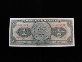 Mexico 1961 1 Peso Banknote Choice Uncirculated Pick #59g