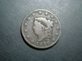 1818 Coronet Head Large Cent Good+