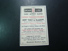 1871 Anchor Line Express Passenger Steamers To And From New York & Glasgow Time/Rate Table Document